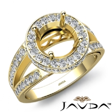 Round Semi Mount Diamond Engagement Halo Pave Setting Ring 14k Gold Yellow  (0.76Ct. tw.)