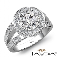 Circa Halo Filigree Split Band Round diamond engagement Ring in 14k Gold White