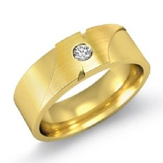 Designer Matte & Polished Diamond Men's Half Wedding Band 14k Gold Yellow (0.1Ct. tw.)