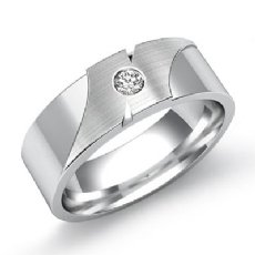 0.10 Ct Round Diamond Men's Wedding Band 14k White Gold Ring