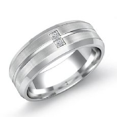 Grooved Matte 0.15 Ct Bezel Diamond Men's Half Wedding Band in 14k White Gold