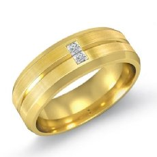 Grooved Matte  Bezel Diamond Men's Half Wedding Band in 14k Gold Yellow (0.15Ct. tw.)