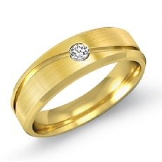 Curve Design Men's Round Diamond Half Wedding Band in 14k Gold Yellow  (0.1Ct. tw.)