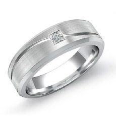 0.15Ct Princess Diamond Men Wedding Band 14k White Gold Ring
