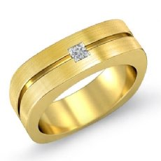 Matte European Shank Bezel Men's Diamond Half Wedding Band 14k Gold Yellow  (0.15Ct. tw.)
