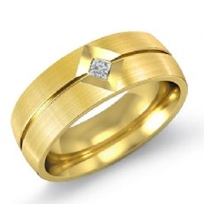Matte Finish Men's Kite Set Diamond Half Wedding Band in 14k Gold Yellow  (0.1Ct. tw.)