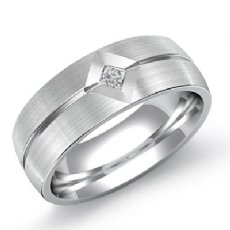 Matte Finish Men's Kite Set Diamond Half Wedding Band in 14k White Gold 0.10 Ct
