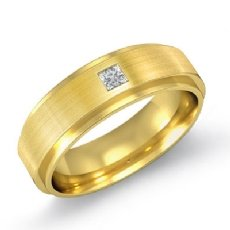 Matte Finish Step Edge Diamond Men's Half Wedding Band in 14k Gold Yellow  (0.1Ct. tw.)