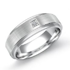 Matte Finish Step Edge Diamond Men's Half Wedding Band in 14k White Gold 0.10 Ct