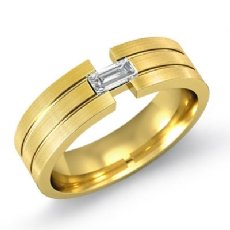 Grooved Matte  Baguette Diamond Men's Half Wedding Band 14k Gold Yellow (0.25Ct. tw.)