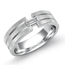 Grooved Matte 0.25 Ct Baguette Diamond Men's Half Wedding Band 14k White Gold