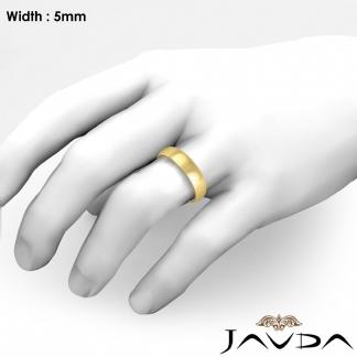 5mm Solid 18k Gold Yellow Dome Plain Polish Mens Wedding Band Ring 6 2g 10