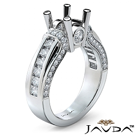 Bezel Channel Set Diamond Engagement Ring 14k White Gold Round Semi Mount 0.90Ct