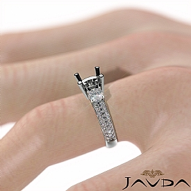 3 Stone Diamond Engagement Ring Round Semi Mount Prong Set 14k White Gold 1.35Ct