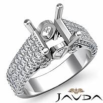 1.7 Ct 3 Row Shank Diamond Engagement Ring Princess Semi Mount 14K White Gold
