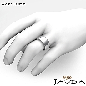 10.5mm Men Wedding Band Solid Dome Comfort Fit Ring 14k White Gold 12g 4sz