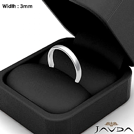 3mm Dome Comfort Plain Ring 14k White Gold Men Wedding Solid Band 2.9g 4sz