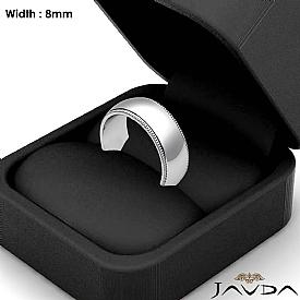 8mm Men Wedding Band Dome Milgrain Edge Solid Ring 14k White Gold 9.1g 4sz