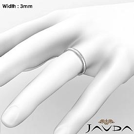 Mens Wedding 3mm Band Dome Milgrain Solid Ring 14k White Gold 2.8g 4sz