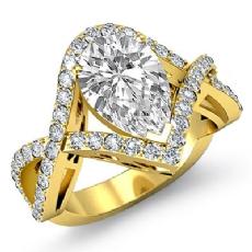 Cross Shank Pave Filigree Pear diamond engagement Ring in 18k Gold Yellow