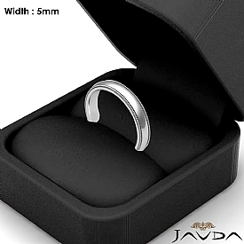 Solid Men Wedding Ring Dome Milgrain Plain Band 5mm 14k White Gold 5.8g 4sz
