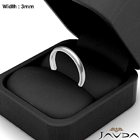 Solid Dome Milgrain Ring Plain Men Wedding Band 3mm 14k White Gold 3.4g 4sz