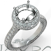 Round Diamond Engagement Ring Pave Semi Mount 14K White Gold Wedding Band 1.3Ct