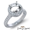Round Diamond Engagement Ring Pave Semi Mount 14k White Gold Wedding Band 1.9Ct - javda.com