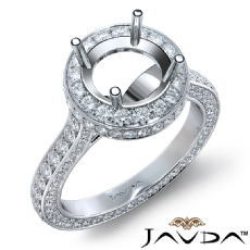 Round Diamond Engagement Ring Pave Semi Mount 14K White Gold Wedding Band 1.3Ct