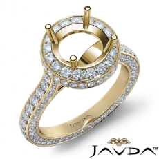Round Diamond Engagement Ring Pave Semi Mount 18k Gold Yellow Wedding Band  (1.7Ct. tw.)