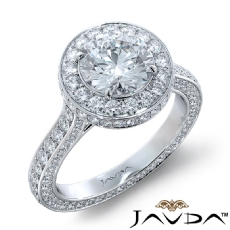 Sidestone Eternity Halo Pave Round diamond engagement Ring in 18k Gold White