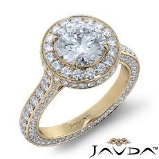 Cathedral Circa Halo Pave Set diamond Ring 14k Gold Yellow