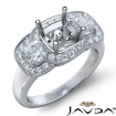 Diamond Engagement 3Stone Ring 14k White Gold Cushion Semi Mount Halo Band 1.05Ct - javda.com