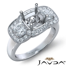Diamond Engagement 3Stone Ring 14k White Gold Cushion Semi Mount Halo Band 1.05Ct