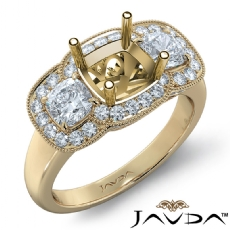 Diamond Engagement 3Stone Ring 14k Gold Yellow Cushion Semi Mount Halo Band  (1.05Ct. tw.)