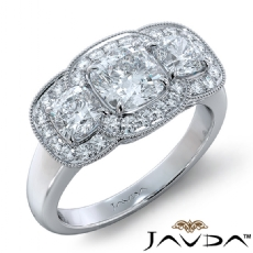3 Stone Halo Milgrain Filigree Cushion diamond engagement Ring in 18k Gold White