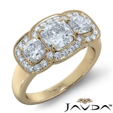 Milgrain Halo Three Stone Cushion diamond engagement Ring in 14k Gold Yellow