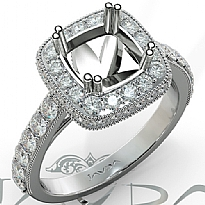 1.1Ct Halo Pave Diamond Engagement Cushion Semi Mount Ring 14K White Gold Band