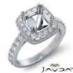 1.1Ct Halo Pave Diamond Engagement Cushion Semi Mount Ring 14k White Gold Band - javda.com
