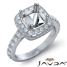 Halo Pave Diamond Engagement Cushion Semi Mount Ring 18k Gold White Band (1.1Ct. tw.)