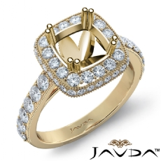 Halo Pave Diamond Engagement Cushion Semi Mount Ring 18k Gold Yellow Band (1.1Ct. tw.)