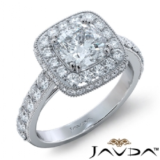 Milgrain Halo Floral Basket Cushion diamond engagement Ring in 18k Gold White