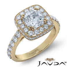 Milgrain Halo Floral Basket Cushion diamond engagement Ring in 14k Gold Yellow