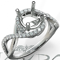 Diamond Engagement Ring Round Semi Mount 14K White Gold Halo Pave Setting 0.34Ct