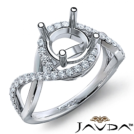 Diamond Engagement Ring Round Semi Mount 14K White Gold Halo Pave Setting 0.34Ct