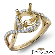Diamond Engagement Ring Round Semi Mount 14k Gold Yellow Halo Pave Setting  (0.34Ct. tw.)