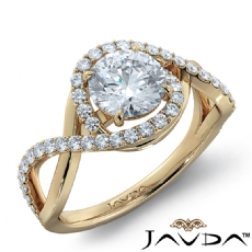 Prong Set Cross Shank Halo Round diamond engagement Ring in 14k Gold Yellow