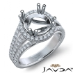 Halo U Cut Prong Diamond Engagement Ring Round Semi Mount 14k White Gold 1Ct - javda.com