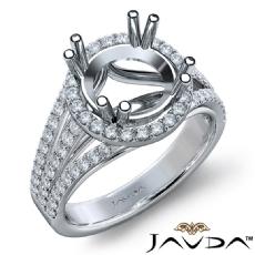 Halo U Cut Prong Diamond Engagement Ring Round Semi Mount 18k Gold White  (1Ct. tw.)
