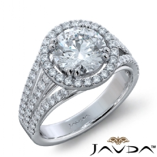 Trio Shank Halo Sidestone Round diamond engagement Ring in 14k Gold White